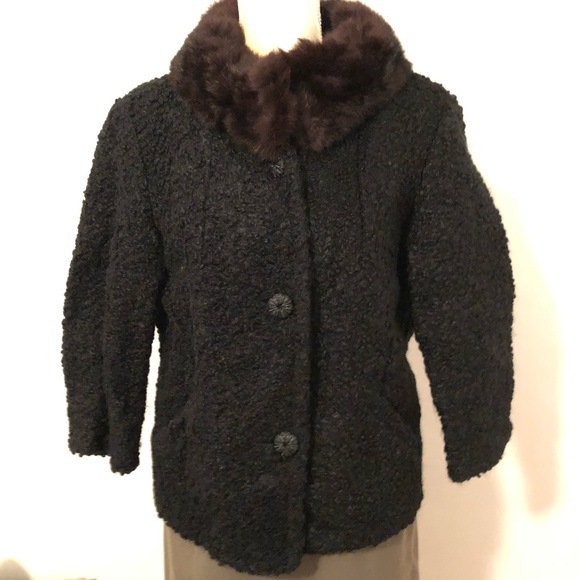 best price on feet images of a few days away Vintage Jackets & Coats | Sale Fox Fur Collar Black Wool Coat ...